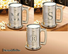 Personalized Gunmetal Monogrammed Metallic Glass Beer Mug 3 Engraved Style Chose