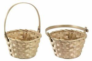 Woven Folding Handle Basket Egg Hunt Flowers Plant Decoration Hamper NEW