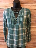 Prana Long Sleeve Shirt Size Small Womens Blue Green Plaid Blouse Top Boho style