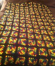 Vintage Multi-colored Wool Handmade Granny Square Afghan 43 By 68 in.