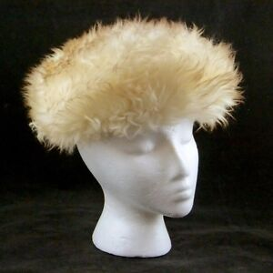 Vtg Shilito's Natural White Sheepskin Winter Fur Hat Italy Elastic Fit Size S
