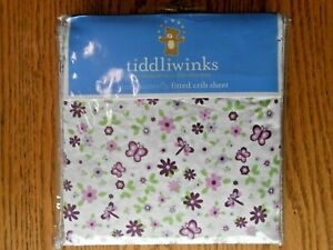 NWT TIDDLIWINKS Plum Butterfly FITTED CRIB SHEET NURSERY BABY VERY CUTE