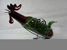 Blow Out Sale Genuine Handmade ROOSTER metal wine bottle holder/caddy