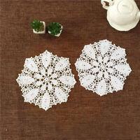 "Set of 4 Round Placemats Dining Table Place Mat Vintage Crochet Lace Doilies 10"""