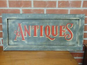 VINTAGE FRENCH HAND MADE WOODEN ANTIQUES ADVERTISING SIGN SHABBY CHIC RUSTIC