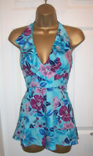 NEW LADIES OASIS TOP SIZE 12,Stunning Blue floral silky satin halter neck Tunic