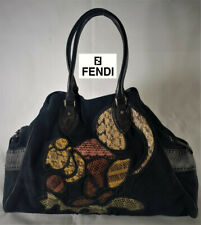 Limited edition Fendi hobo bag XL Navy Blue Suede leather and real snake skin