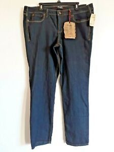Fragile Jeans Womens Sz 20 Dark Wash Blue Straight Leg Stretch Zip Close NWT