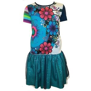 Desigual Girls Blue Dress Bright Floral Print Summer Party 11 12 13 14 years