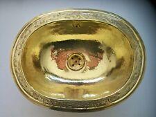 Vasque cuivre gravée Marocaine ovale évier lave main lavabo 39x30cm sale de bain