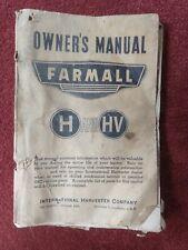 1946 Farmall International Harvester H & Hv Tractor Owner'S Manual Book Vintage