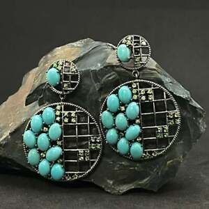 Natural Turquoise Emerald Gemstone Earrings 925 Sterling Silver Jewelry Earrings