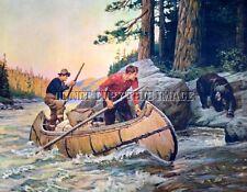 ANTIQUE HUNTING PHOTOGRAPH REPRINT 8X10 GOODWIN MEN CANOE BLACK BEAR ENCOUNTER