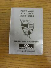 2003/2004 Port Vale: Accesorio oficial Folleto-cuatro páginas (con los resultados se indique).