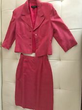 ESCADA Germany silk linen rose pink dress skirt jacket suit 3/4 sleeve size 38