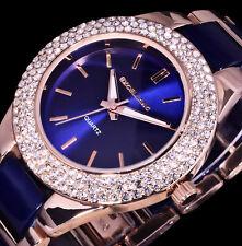 Excellanc Uhr Damenuhr Armbanduhr Blau Rose Gold Farben Metall Strass - 3E