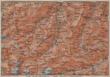 LUGNETZTAL SURSELVA. Valserrhein Furketlihorn Hinterrhein Splügen 1913 old map