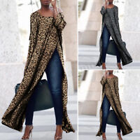 Women Printed Leopard Off Shoulder High Split Tops Casual Long Maxi Shirt Blouse