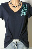 s.Oliver T-Shirt Gr. 44 dunkel-blau Kurzarm Damen T-Shirt mit grünem Blatt Motiv