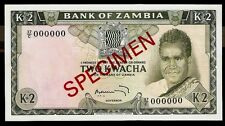 New listing Zambia 2 Kwacha 1969 Specimen Unc Pick # 11s