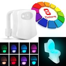 NEW 8-Color LED Motion Sensing Automatic Toilet Bowl Night Light 1W 2M Distance