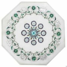 """12""""x 12"""" White Decorative Marble Inlay Coffee Table Top"""