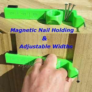 Feather Edge Fencing Close Board Spacer 100 125 150 mm Ring Nails Jig Magnetic