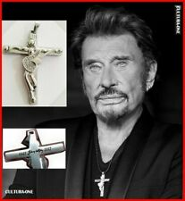 JOHNNY HALLYDAY PENDENTIF CROIX GUITARE L'ORIGINAL ! DATES + SIGNATURE + COLLIER