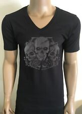 MENS BLACK DEEP V NECK 3D SKULL T-SHIRT