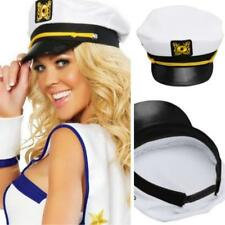Men's Adults White Fancy Dress Yacht Boat Captain Hat Navy Cap Sailor Seaman LC