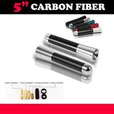 "Universal 5"" Silver Aluminum Carbon Fiber Short AM FM Radio Antenna Screw Car"