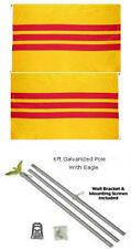 3x5 South Vietnam Vietnamese 2ply Flag Galvanized Pole Kit Eagle Top 3'x5'