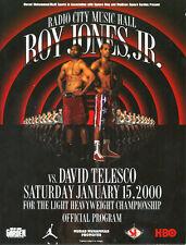 Original Vintage Roy Jones Jr. vs. David Telesco Boxing Fight Program Scorebook