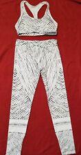 Yoga Pants & bra Stretch black & white workout fitness pants leggings  M