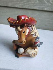 Vintage horse piggy bank with hat and bird Cute