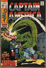 "CAPTAIN AMERICA #122 MARVEL 02/70 vs SCORPION ""STING OF THE.."" GENE COLAN ART VF"