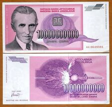 Yugoslavia 10,000,000,000 (10000000000) Dinara 1993 P-127 AA-Prefix aUNC > Tesla