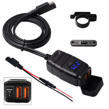 Waterproof Motorcycle ATV QC3.0 Dual USB Quick Charger Adapter w/ Voltmeter 12V