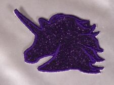 Embroidered Retro 80s Deep Purple Glitter Sparkle Unicorn Applique Patch Iron On