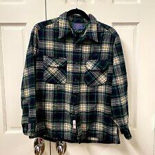 New listing Vintage Pendleton Wool Shirt Mens L Green Blue Plaid Long Sleeve - Runs Small
