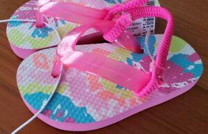 Childrens Place Toddler Girl 4/5 8/9 Pink Tie Dye Ankle Strap Flip Flops Sandals