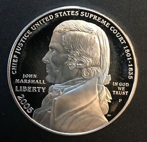 United States - Silver 1 Dollar Coin - 'John Marshall' -  2005 - Proof