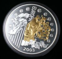 2003 French 50 Euros Large Sterling Silver Proof Coin 24 carat Gold 1 Kilogram