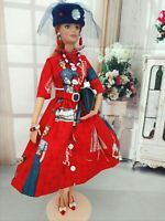 OOAK HANDMADE DOLL CLOTHES FASHIONISTA RED LADY DESIGN OUTFIT DRESS SET