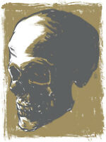 Skull Art Print Brian Ewing Gold