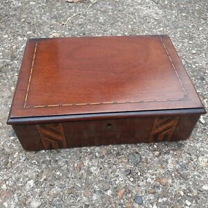 vintage wooden small sewing box with contents