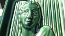 VTG table lamp woman green ceramic 1940s Modigliani look 40s Madonna serene 1930