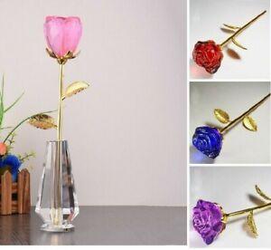 Rose Flower Buds Vase Figurine Crystal Wedding Crafts Home Table Ornament Decors
