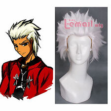 28cm Short White Fate/Stay Night Archer Hair Straght Cosplay Wig ZY90