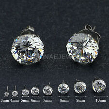 Stainless Steel Cubic Zirconia Stud Earrings E102